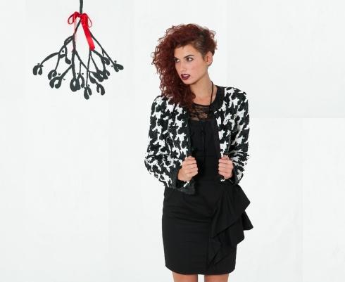 Black Ruffle Bustier Dress
